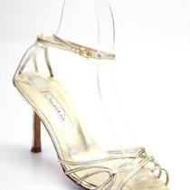 Oscar De La Renta Womens Metallic Leather Ankle Strap Pumps Size 36 6 Ll19ll Photo