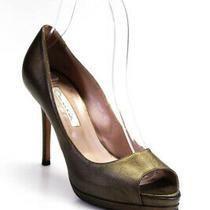 Oscar De La Renta Womens Peep Toe Platform Slip on Pumps Gold Size 36 6 Ll19ll Photo