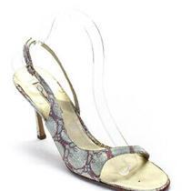 Oscar De La Renta Womens Stiletto Metallic Sandals Silver Tone Red Canvas 39 Photo