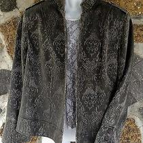 Oscar Del a Renta Sri Lanka Women's Rare Unique Pattern Jacket Size 18w Grays Photo