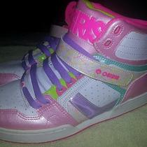 Osiris Neon Pink Green Purple Aqua High-Top Shoes Size 10 Bronx Slim Girls Photo