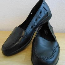Osr- Shoes Woman Sz 7 Loafer Black Wedge Raised Stitching 1