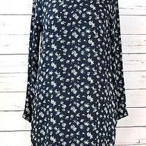 Ottodame Anthropologie Size 4 Floral Mock Neck Long Sleeve Shift Dress Blue Photo