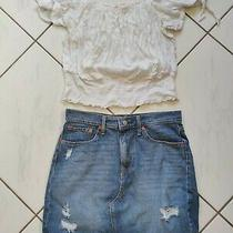Outfit Boho Festival Express Shirred Crop Top Large Levi's Denim Skirt Sz 30/10 Photo