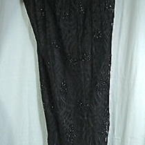 Ov-Carmen Marc Valvo Black Silk Lace Beaded Straight Leg Evening Pants-20w/2x Photo
