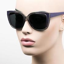Oversized Cat Eye Pinup Vintage Style Sunglasses Super Dark Gray Purple T412 Photo
