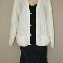 Oversized Grunge Slouchy Ivory Mohair Blend Soft Grandpa Cardigan Sweater Sz M L Photo