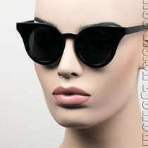 Oversized Round Cat Eye Sunglasses Pinup Vintage Style Black Super Dark T1049 Photo