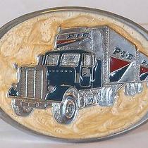 p.i.e Pacific Intermountain Express Nationwide Silver Enamel Lacquer Belt Buckle Photo