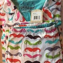 P J Salvage Ivory Stashes Mustache Flannel Pajama Set Size Large Nwt Photo