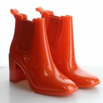 P12 Msrp 65 Women's Size 8 Jeffrey Campbell Hurricane Red-Orange Pvc Booties Photo