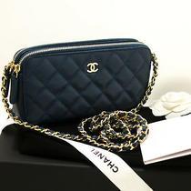 P14 Chanel Authentic Caviar Navy Wallet on Chain Woc W Zip Chain Shoulder Bag Photo