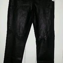 Paige Black Leather Leggings Large Photo
