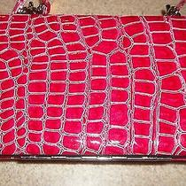Paige Cherry Red Croc Pattern Flat Hinged Opera Wallet Clutch Organizer Purse  Photo