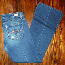 Paige Jeans Denim Blue Laurel Canyon Boot Cut Embroidered Womens Size 30         Photo