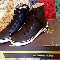Pair Boys Size 1 M Elements Brandon Black High Top Shoes  Photo