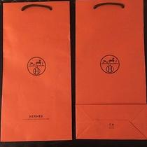 Pair of 2 Hermes Orange Logo Tall Gift Bag Paper Sacks  Photo