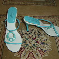 Pair of Aqua Blue & White Heels From G.f. Glamour Original. Size 9.  Photo