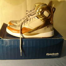 Pair of Reebok Classic Alicia Keys High Top Beige Gold Sneakers Size 9.5  Photo