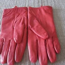 Pair Women's Newport News Lamb Leather True Red Gloves Wool Lined Size M Photo