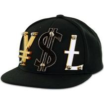 Paislee Ysl Ii Yen Dollar Pound Currency Saint Laurent Snapback Black Gold Hat Photo