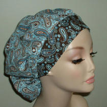 Paisley Aqua Blue Turquoise Brown or Surgical Scrub Hat Bouffant Corn Cort Crna Photo