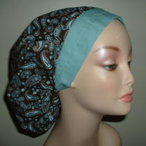 Paisley Brown Aqua Blue Bouffant or Surgical Nurse Scrub Hat Crna Cort Chef Corn Photo