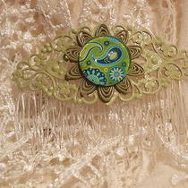 Paisley Hair Combs - Green Filigree Photo