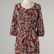Paisley Print Mod Anthropologie Dress 3/4 Sleeve Vintage Style Small  Photo
