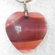 Pale Blush Pink Heart Agate Onyx Stone Pendant Charm Keychain Necklace X59 Photo