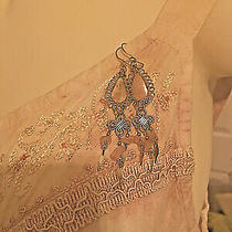 Pale Pink/beige/blush Beaded Embroidered Spaghetti Strap Top-Size M With Earring Photo