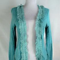 Panitti Cardigan Sweater M French Blue Ruffle Lace Soft Fuzzy Open Front Jacket Photo