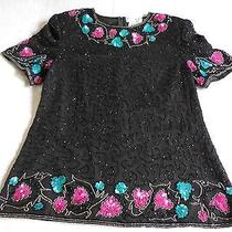 Papell Boutique Evening Beaded Top Misses L Black With Turquoise Pink Beads Zip Photo