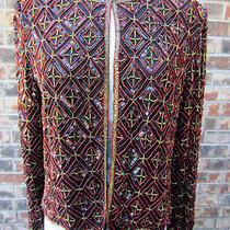 Papell Boutique Evening Sequin Beaded Top Blouse Jacket Multi Color Size M Photo
