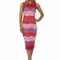 Paper Dolls Chloe Lewis Multi Stripe Lace Midi Dress Red/pink/purple Uk 12 Bnwt Photo