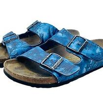 Papillio Birkenstock Arizona 2 Straps Blue Floral Sandals Size 39 Us 8 Photo
