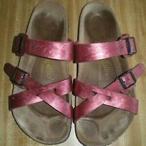 Papillio Sandal Size 38 Euc L7 M5 Birkenstock Slide Leather Metallic Red Photo