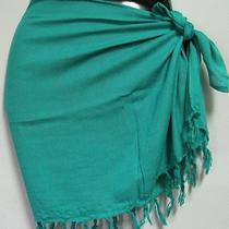 Pareo-New  Solid Aqua Mini Sarong Cover Up With Fringe or Tassels Photo