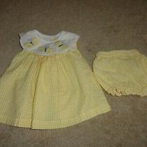 Parisian Bebe Yellow Check Searsucker Sun Dress & Panties Butterflies Sz 18 Mos Photo