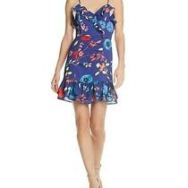 Parker 298 Womens New 1115 Blue Floral Ruffled Darted Dress 2 Bb Photo