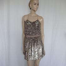 Parker Antique Gold  Sequin Knee Length Dress Size M Photo