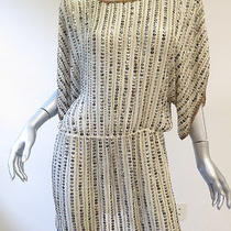 Parker Beaded Stripe Batwing Tunic Mini Dress Cream Size Medium 297 Gently Worn Photo