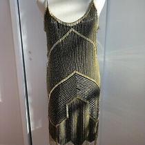 Parker Black and Gold Sequin Spaghetti Strap Dress Size S Photo