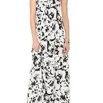 Parker Black White Floral Print Maxi Cassie Dress 100% Silk Size Xs Photo
