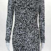 Parker Black White Sequined Notebook Sheath Dress Size Small 418 10188204 Photo