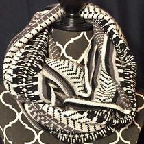 Parker Blue 100% Cashmere Black White Geometric Oversized Infinity Knit Scarf Photo