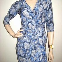 Parker Blue Gray Silk Floral Print Ruffle Wrap Dress Xs Photo
