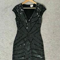 Parker Dress Sz M Sequins Black v-Neck Holiday Cocktail Sheath Bodycon Glam Photo