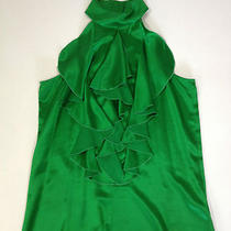 Parker  Emerald Green Blouse  High Neck and Ruffles   Size Xs Photo