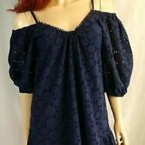 Parker Eyelet Short Cotton Dress Navy Blue Sz Xs Photo